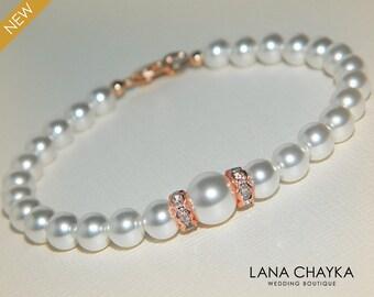 White Pearl Rose Gold Bridal Bracelet Swarovski Pearl Rose Gold Wedding Bracelet Delicate Pearl Bracelet White Pearls Bridal Jewelry