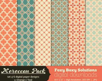 Moroccan Pattern Digital Papers - Orange & Teal, set of 6 - Printable Instant Download Digital Paper Pack - orange - teal