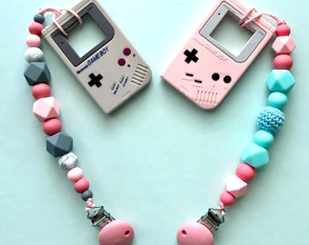 Gameboy teether with pacifier clip, pink gameboy toy, gamers, its a girl baby gift, silicone teethers, cheap shipping, baby shower