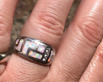 Opal inlay sterling silver ring
