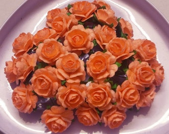Coral paper flowers etsy 30 paper flowers size 075 mulberry paper craft flower mini roses wedding paper flower craft wedding coral orange paper roses mightylinksfo