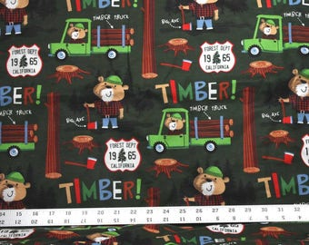 Bears and Forest on Dark Green Snuggle Flannel Fabric - One Yard - Flannel Fabric by the Yard