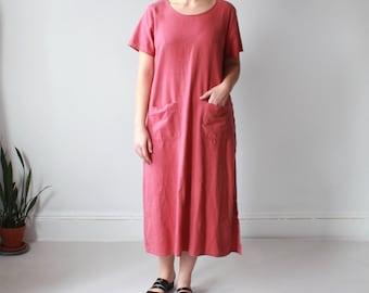 vintage linen dress | muted red linen maxi dress, L-XL