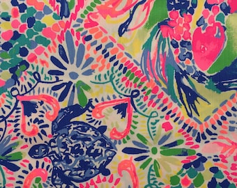 "multi dancing on the deck dobby cotton fabric square 18""x18"" ~ lilly spring 2018 ~ lilly pulitzer"