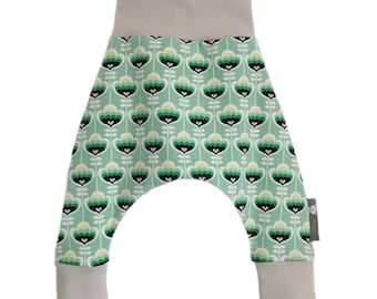 Baby Harem Pants Relaxed Trousers in SCANDINAVIAN Green FLOWERS or Blue PEARS - a Gift Idea for Modern Babies