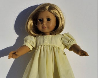 """Yellow Doll Nightgown - Doll Nightgown - Doll Pajamas - 18 inch Doll Nightgown - Doll Clothing - 18"""" Doll Clothes"""