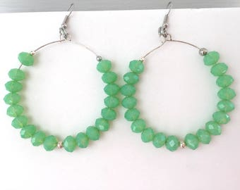 Large hoop earrings - Beaded earrings - Mint earrings - Mint hoop earrings - Mint green jewelry - Round hoop earrings - Big hoops
