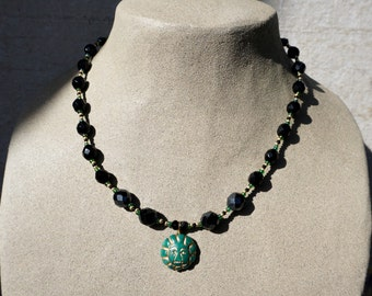Clay Jade and Bead Necklace