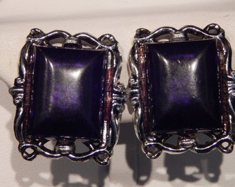 Black and Silver Earrings Silver Tone and Bacle Rectangle Clip On Statement Earrings