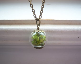 Moss Necklace -Garden Necklace - Glass Orb necklace - Green Necklace - Earthy Necklace - Free Gift With Purchase