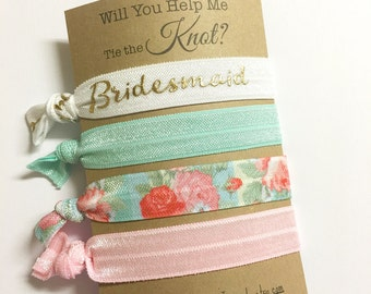 Will You be my Bridesmaid Card - Bridesmaid Gift - Bridesmaid Proposal - Bridesmaid Hair Tie Favors - Gift for Bridesmaid - Wedding Favors