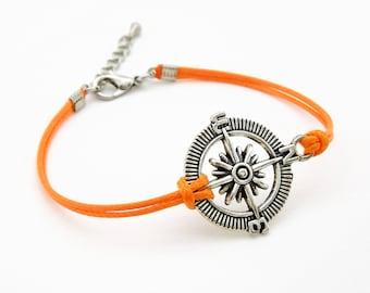 Compass Bracelet, Bright Orange Bracelet, Waxed Cord Bracelet, Wanderlust Bracelet, Nautical Bracelet