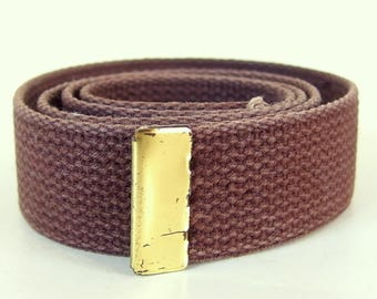 Vintage 1980's Military Belting, Brown Cotton Webbing with Capped End, No Buckle