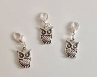 Owl stitch markers or progress keepers (set of 3)