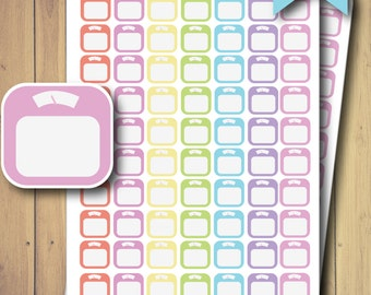 PRINTED Scale Planner Stickers - Pastel Rainbow - Any Planner Size - Daily Habits - Life Planner Fitness Weight Loss