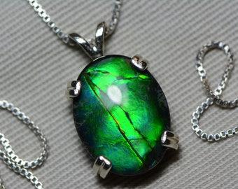 Ammolite Necklace, Green Ammolite Pendant, Sterling Silver, 16x12mm Oval Cabochon, Alberta Canada Gemstone, Jewelry