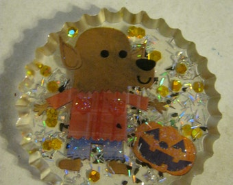 Halloween Wolfman and Pumpkin  Resin Cabochon