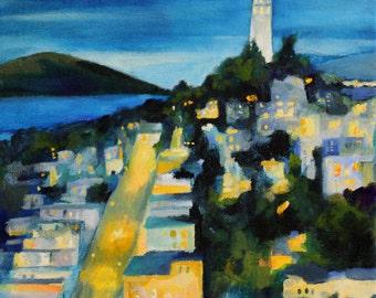City at night San Francisco art print of original oil painting Coit Tower  PRINT SF art