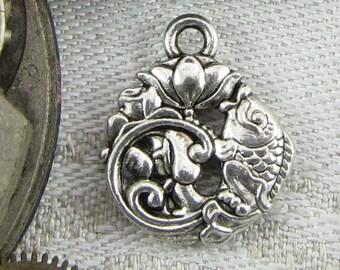1 or 12,  Koi, Koi Fish, Fish, Koi Charm, Fish Charm, Koi Pendant, Fish Pendant,  Japanese Charms, Silver Koi Charms, ANM015
