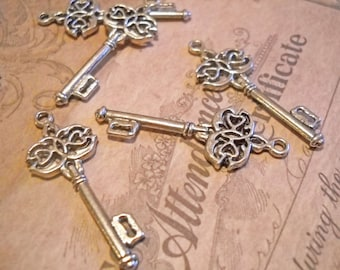 Skeleton Key Pendants Antiqued Silver Ornate Keys 45mm 10 pieces Steampunk Keys Silver Key Charms 45mm