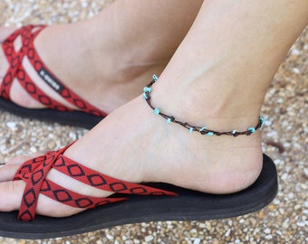 Simple Turquoise Adjustable Anklet