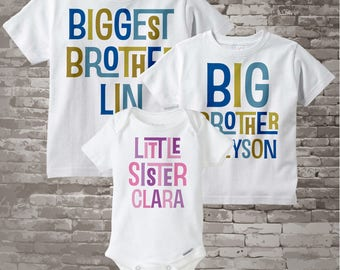 Matching Brother Sister outfits - Three Matching Siblings - Set of 3 - Personalized Custom Blue Green and Pink Purple Text 12302013f
