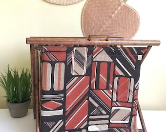 Vintage Fabric Folding Basket, Knitting Basket, 1970's