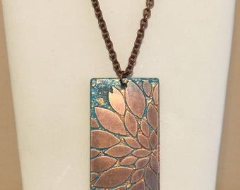 Copper flower handpainted turquoise color necklace shabby chic