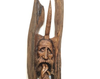 SALE, Wood Wall Art, Wood Spirit, Wood Carving, Hand Carved Wooden Face, A Unique Gift Made of Wood, Devil, Horned, Mountain Man, Josh Carte