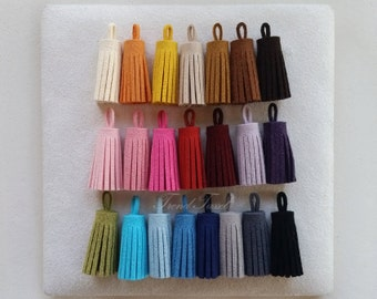 """10% Wholesale 44 pcs  - 1.2"""" Suede Darling Tassel, Hand Crafted Teasel Charm Supplies"""