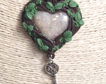 Heart necklace with key, my heart key, necklace in love, day Valentin