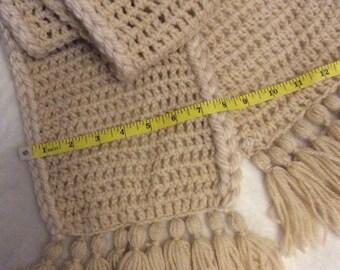 Crochet scarf , two tone beige tassed