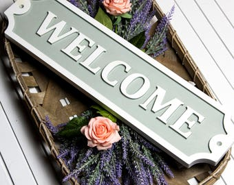 Welcome Embossed Wood Sign/Custom/Engraved/Wall Decor