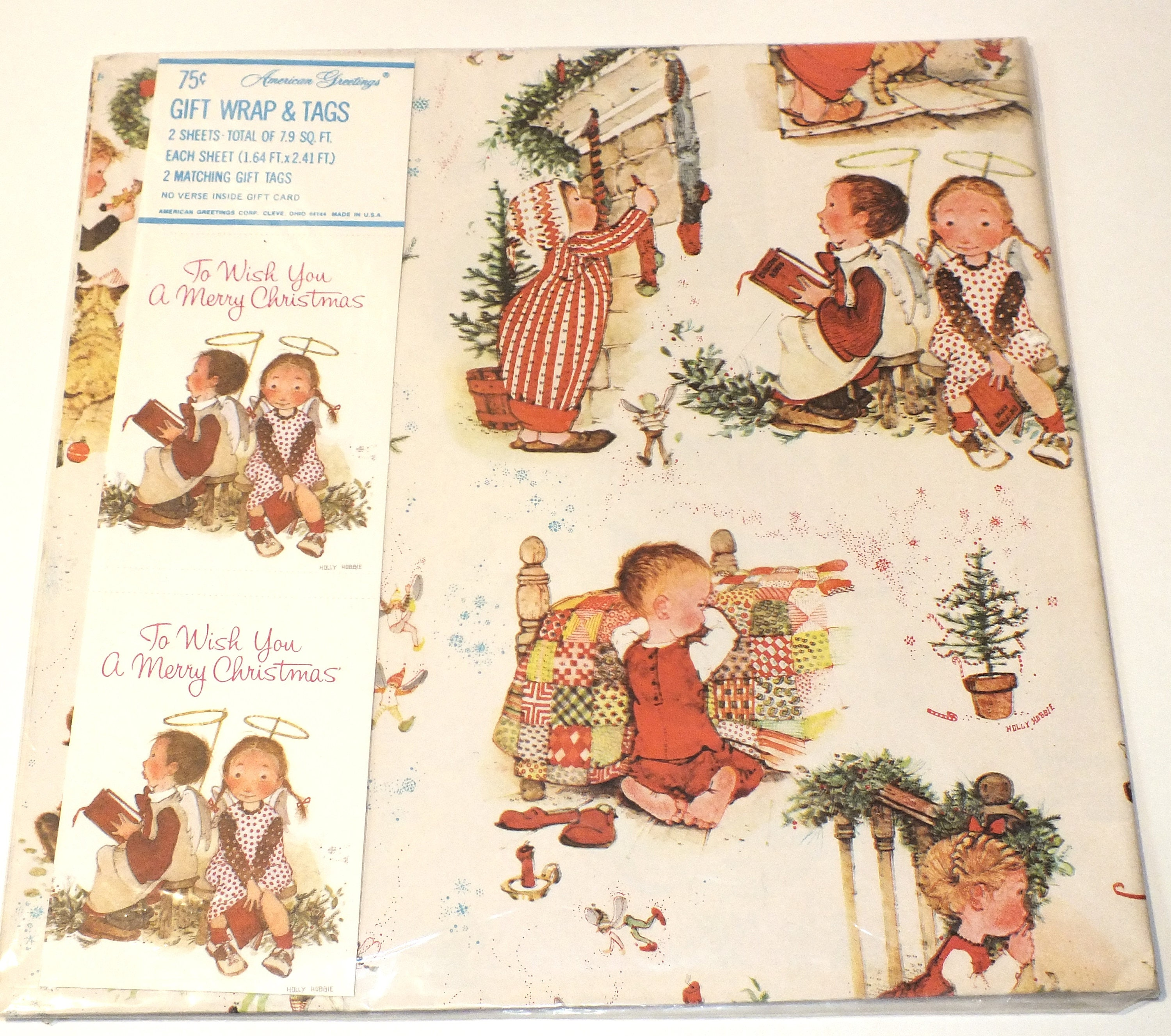 Vintage American Greetings Gift Wrap Christmas Holiday Holly Hobbie