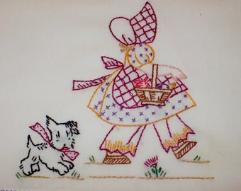 Old Fashion Girl Shopping with Dog Dish Towel
