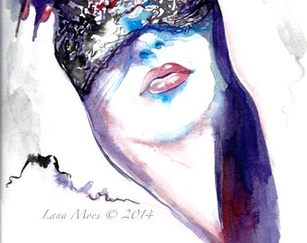Watercolor Print from Original Watercolor Illustration - Figurative Watercolor Painting Titled: The Veil