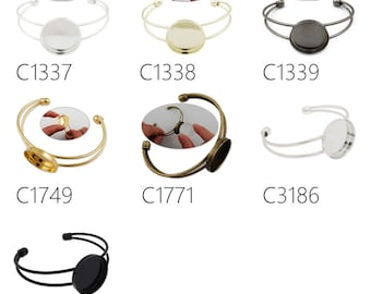 10PCS blank Bracelet With 25MM Round Setting,Cuff,Adjustable, Fit 25mm Round Cabochons