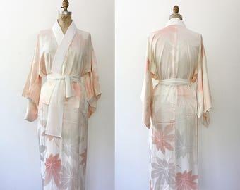 vintage silk kimono / kimono robe / Pink Aralia kimono