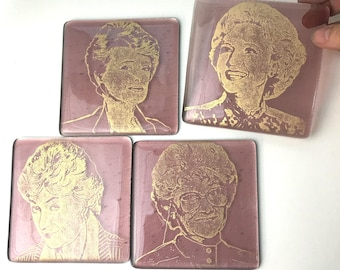 Golden Girls Fused Glass Coaster 4-pack, set of 4, Actresses, Famous people coasters
