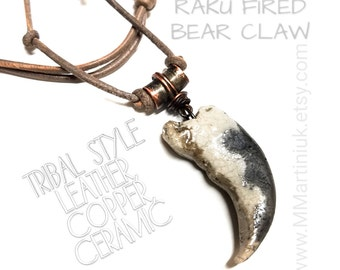 Gift for Him Tribal Leather Necklace Copper Jewelry Ceramic Bear Claw Necklace Alaskan Grizzly Bear Claw His Adjustable Leather Made in USA