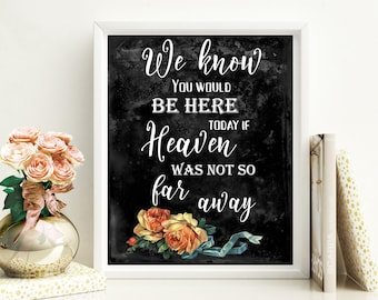 We Know You Would Be Here Today If Heaven Wasn't So Far Away Wedding memorial sign Memorial sign In loving memory Chalkboard decor idwr15