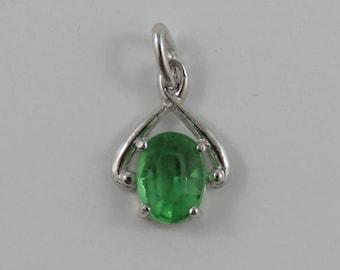 Green August Birthstone Sterling Silver Vintage Charm For Bracelet