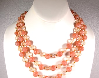 MUST SEE! Vintage Multi-Strand Molded Plastic Beads and Crystals,Peach Colored Molded Beads and AB Crystal Molded Beads