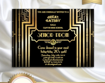 Great Gatsby Style Art Deco Prom Invitation, Roaring Twenties, 1920's, 20's Style, Black and Gold, Senior Prom, Pre Prom  - Printable DIY