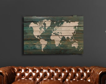 Rustic pallet wood world map