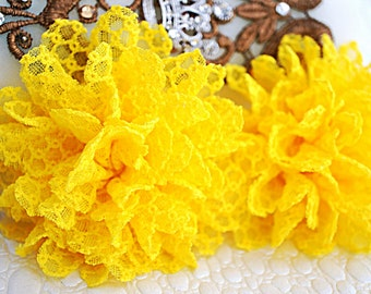 "Set of TWO - Yellow Fabric Flowers - Chiffon Flower - 3.5"" Lace rose - Wholesale flowers - Headband supply - Lace Flowers"