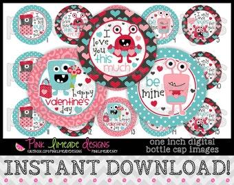 "Valentine Monsters - INSTANT DOWNLOAD 1"" Bottle Cap Images 4x6 - 774"