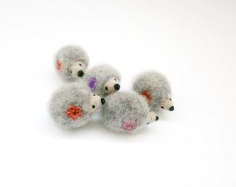 Tiny felt hedgehog, Grey hedgehog brooch, Needle felt animal brooch, Kids brooch, Wool miniature, Nature inspired, For hedgehog collectors