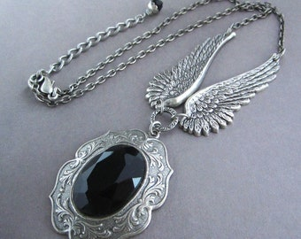 Victorian Necklace Fantasy Goddess Open Wings Steampunk Gothic Antiqued Silver