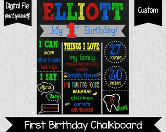 Boy's First Birthday Chalkboard Sign - Red, Green, Blue, Yellow - Other colors available - First Birthday - Boys Birthday Chakboard - One